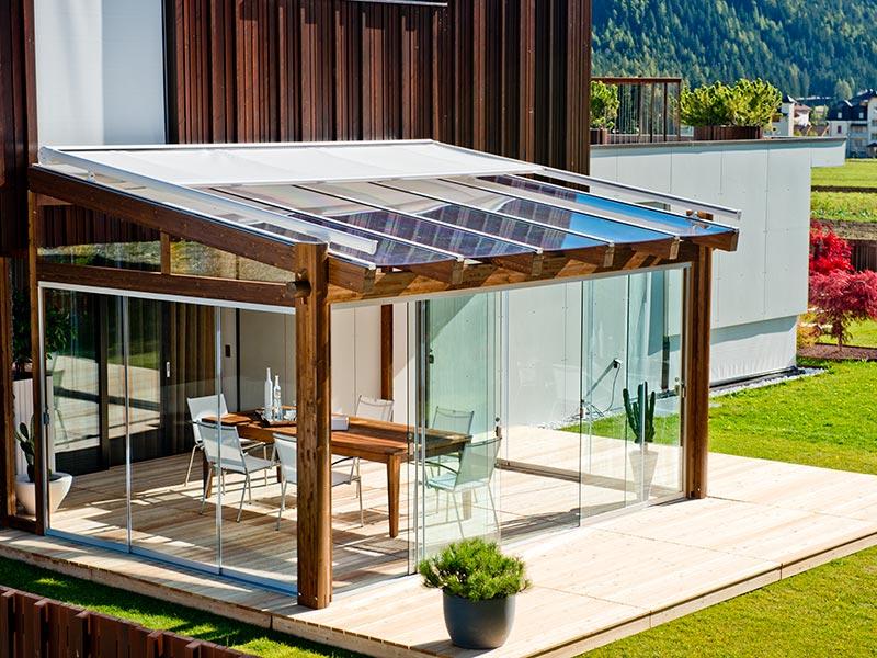 Gazebo legno e vetro – Pannelli termoisolanti
